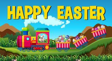 Feliz Páscoa com coelho e ovos no trem vetor