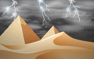 Tempestade na cena do deserto vetor