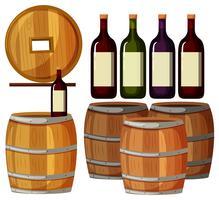 Garrafas de vinho e barris de madeira vetor
