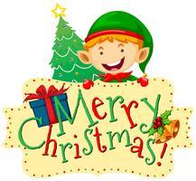 Tema de Natal com elf e árvore de natal vetor