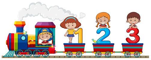 Crianças e número no trem vetor