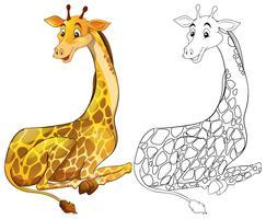 Contorno animal para sentado girafa vetor