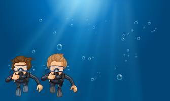 Cena, com, dois, mergulhadores scuba, submarinas vetor
