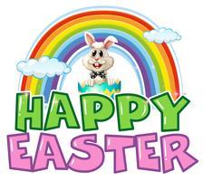 Cartaz de Páscoa feliz com coelho e arco-íris