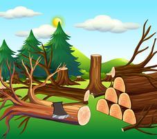 Cena de desmatamento com madeiras picadas vetor