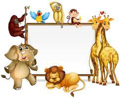 Modelo de quadro com muitos animais selvagens vetor