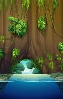 Cave sobre a água vetor