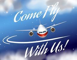Cartaz de propaganda com vôo de avião vetor