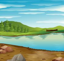 Cena, com, rio, fluxo, através, a, floresta vetor