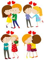 Amor casal abraçando e beijando vetor