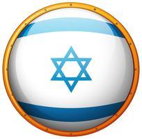 Bandeira de Israel no botão redondo vetor