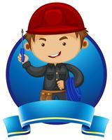 Design de logotipo com reparador e ferramentas vetor
