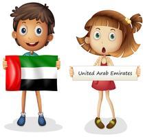 Menino menina, com, bandeira, de, emirates árabes unidos