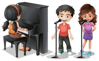 Crianças, cantando, tocando, piano vetor