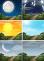 Conjunto de cenas do caminho da natureza diferente