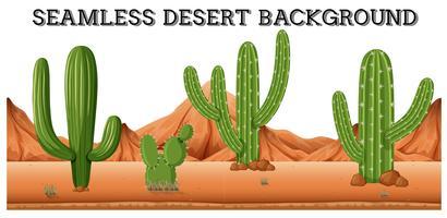 Fundo do deserto sem costura com plantas de cactos vetor