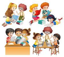 Grupos de estudantes lendo e trabalhando no computador
