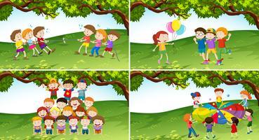 Crianças, jogo jogando, parque vetor