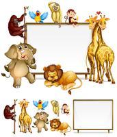 Modelo de placa com animais selvagens vetor