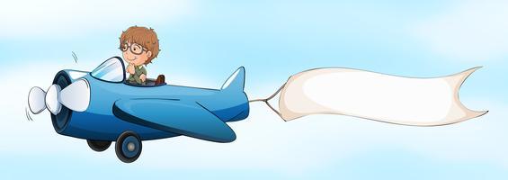 Piloto voando avião a jato com bandeira branca vetor