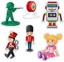 Design de etiqueta com bonecos diferentes vetor