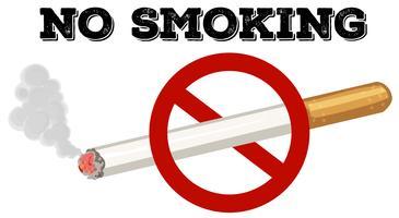 Nenhum sinal de fumar com texto e imagem vetor