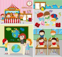 Alunos aprendendo e jogando em salas de aula vetor