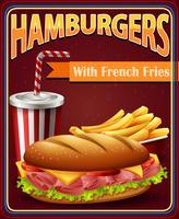 Placa de propaganda com hambúrgueres e batatas fritas vetor