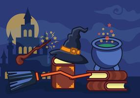 Ilustração de escola de feiticeiro