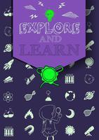 Cartaz de educação com símbolos e texto vetor