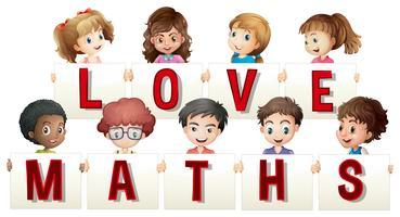 Crianças, segurando, amor, matemática, sinal vetor