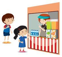 Crianças comprando bebidas na loja vetor