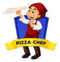 Design de rótulo com chef de pizza vetor