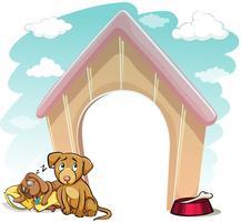 Filhotes de cachorro fora da casa do cachorro vetor