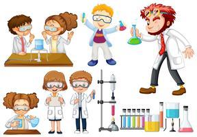 Muitos cientistas e estudantes fazendo experimentos vetor