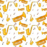 Plano de fundo sem emenda com saxofone vetor