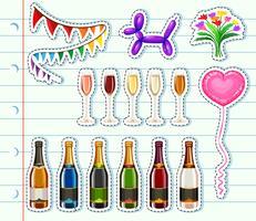 Diferentes tipos de bebidas na festa vetor