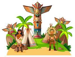 Dois índios americanos nativos no acampamento vetor