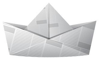 Barco de papel feito de jornal vetor