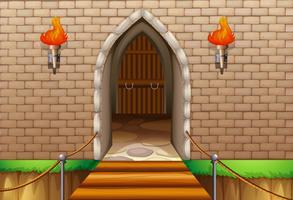 Parede da torre do castelo com ponte vetor