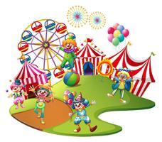 Palhaços atuando no circo vetor