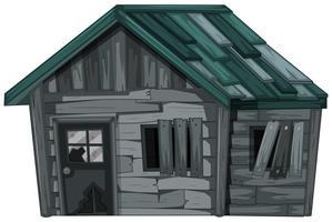 Casa de madeira no fundo branco vetor