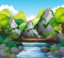 Cena, montanhas, rio vetor