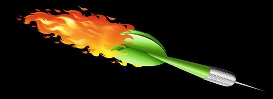 Dardo verde em chamas vetor