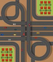 Cena aérea, com, estradas, e, carros