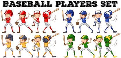 Jogadores de beisebol em posições diferentes vetor
