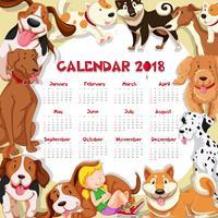 Modelo de calendário para 2018 com muitos cachorros fofos vetor