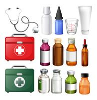Equipamentos médicos e recipientes vetor