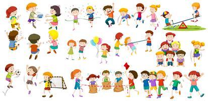 Meninos e meninas fazendo atividades diferentes vetor