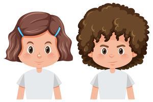 Conjunto de menino e menina personagem vetor